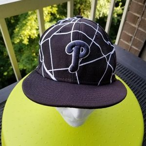 Phillies Fitted Black Area Map Baseball Cap